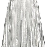 DKNY - Pleated metallic taffeta midi skirt