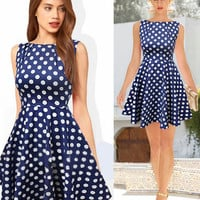 Blue Polka Dot Print Sleeveless Sheath Mini Skater Dress