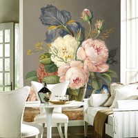 European Style 3D Stereo Flowers Oil Painting Photo Wallpaper Murals Living Room TV Sofa Hotel Entrance Backdrop Wall Decor 3 D