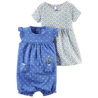 Carters Baby Clothing Outfit Girls 2-Piece Dress & Romper Set Geo Dot Blue - Walmart.com