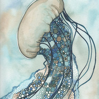 Whimsical Sea Nettle Jellyfish 4 x 6 print of hand painted detailed watercolour artwork in turquoise blue green earth tones