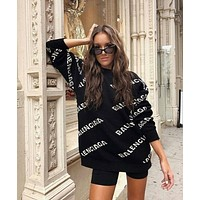 BALENCIAGA Woman Fashion Letter Pullover Sweater