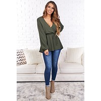 Hidden Heart Long Sleeve Top (Olive)