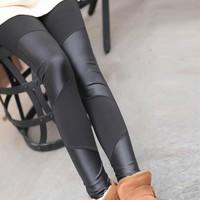 Four Leather Stitching Leather Leggings Nine Points