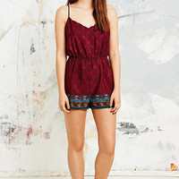 Staring at Stars Floral Border Playsuit in Red - Urban Outfitters