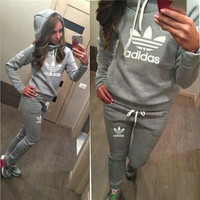 "[ On Sale ] (2 Pcs) "" Adidas "" like and Logo Print Long Sleeve Women Hoodie Blouse Top Shirt and Sweatpants Bottom Set"