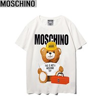 Moschino Summer New Fashion Letter Mouse Print Women Men Top T-Shirt White