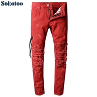 Sokotoo Special Price! Men's casual red pleated biker jeans for motorcycle Slim skinny ripped stretch denim pants Size 32