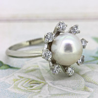 Vintage Pearl Engagement Ring | Diamond Halo Ring | Non Traditional Wedding Ring | 18k White Gold 1960s Cocktail Ring | Gemstone Ring Size 6