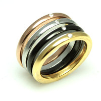 Stackable Stainless Steel Four Color CZ Ring Set 6-9