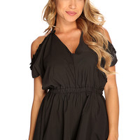 Black Bare Shoulders Cute Summer Romper