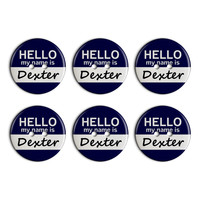 Dexter Hello My Name Is Plastic Resin Button Set of 6