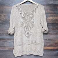 lightweight boho slouchy sweater in khaki