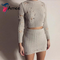2016 Women Autumn knitted Dress Sexy 2 Piece Set Women Fashion hollow out bodycon Dress Sexy Crop Top Ladies Two Piece Set