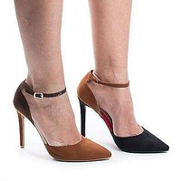 Riseup21V By Anne Michelle, Multi D'Orsay Buckle Ankle Cuff Stiletto Heel Pumps