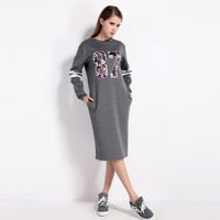 Autumn Long Sleeve Round Necked Alphabets One Piece Dress a13092
