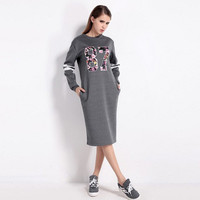 SIMPLE - Autumn Long Sleeve Round Necked Alphabets One Piece Dress a13092