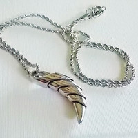 Silver horn pendant necklace  stainless steel horn  stainless steel necklace   steel rope chain