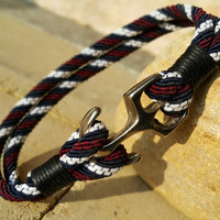 FREE SHIPPING-Mens, Woman Bracelet, Nautical Anchor Jewelry, Claret Red, Dark Blue and White Silk Ropes, Unisex