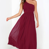 Painted Words Wine Red One Shoulder Maxi Dress