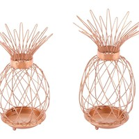Tropical Pineapple Copper Candleholders (set of 2)
