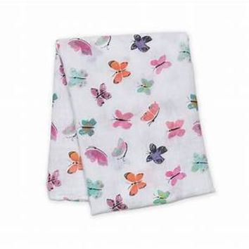 Butterfly Watercolor Cotton Swaddle Blanket