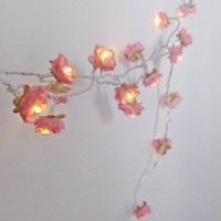 Country Pink -  Longer Wild Roses Fairy Lights