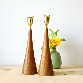 Mid Century Modern Candle Sticks Teak & Brass Candle Holders Japan Danish Modern Style