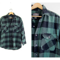 20% OFF SALE Vintage green and black Buffalo check Plaid Flannel / Grunge Shirt / boyfriend Button up shirt