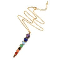 QCOOLJLY 8mm/6mm Beads Necklace Women 7 Chakra Multicolor For Wisdom Natural Stone Yoga Meditation Necklace,Christmas Gifts