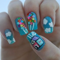 balloons, blue, clouds, house, nail art - inspiring picture on Favim.com