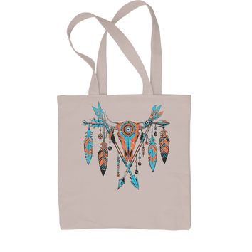 Native American Cattle Skull Southwest Shopping Tote Bag