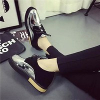 Summer England Style Shoes Round-toe Height Increase Mirror [9432945482]