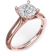 Fana Round Cut Four Prong Rose Gold Milgrain Solitaire Engagement Ring