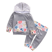 Newborn Baby Girls Boy Floral Hooded Tops +Long Pants 2pcs suit newborn baby boys girls clothing sets
