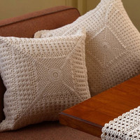 Vintage Design Cushions- HANDMADE CROCHET-  Cotton - Crochet Cushion Cover  - Premium - Natural and White Color