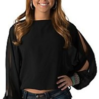Double Zero Women's Black with Multicolored Cuffs Chiffon Cropped Long Dolman Cold Shoulder Sleeves Fashion Top