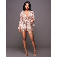 2016 new fashion full sleeve women playsuit v-neck sexy rompers novelty print rompers