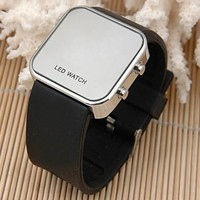 AQY(TM) Luxury Mirror LED Digital Date Jelly Silicon Unisex Casual Sport Wrist Watch