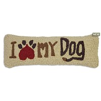"I Love My Dog Lumbar Hooked Wool Pillow 8""W X 24""D"