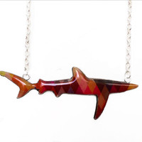 Shark Necklace / Blue Shark Necklace Handmade by Honoloulou's - Geometirc