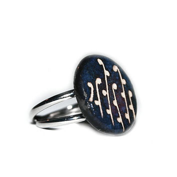 Floral, dotted blue Ceramic ring, summer, romantic,women and girl jewelry, self designed, handmade, dark colors and white