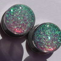 Alice In Iridescent Land Sparkle Fake Plugs Embedded Resin  - Made to Order 7mm,11mm - 18g