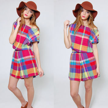 Vintage 80s PLAID Romper Short Sleeve BRIGHT Color Block SLOUCHY Checker Indie One Piece Shorts Playsuit