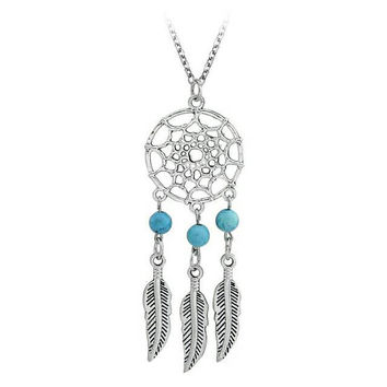 Turquoise Dreamcatcher Necklace - Bohemian Necklace - Boho Jewelry - Beaded Necklace - Charm Necklace - Gypsy - Gift with Purchase