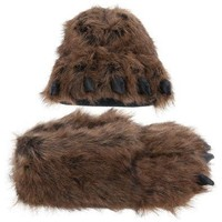 Grizzly Bear Paw Slippers for Women and Men Medium