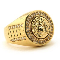 MEN'S HIP HOP LAB DIAMOND MEDUSA BRASS RING SIZE 8-12 BR002G