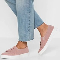 Fashionable and popular buckle loafers casual large size single shoes Pink