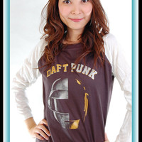 New Daft Punk College DJ Ed Banger Baseball T Shirt Tank Top Tunic Women S, M, L