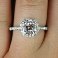 14kt White Gold Classic Morganite Round Halo w/ Flush Scooped Gallery Engagement Ring (Other metals and stone options available)